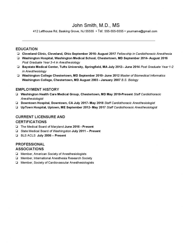 Experienced Anesthesiologist CV Template #2