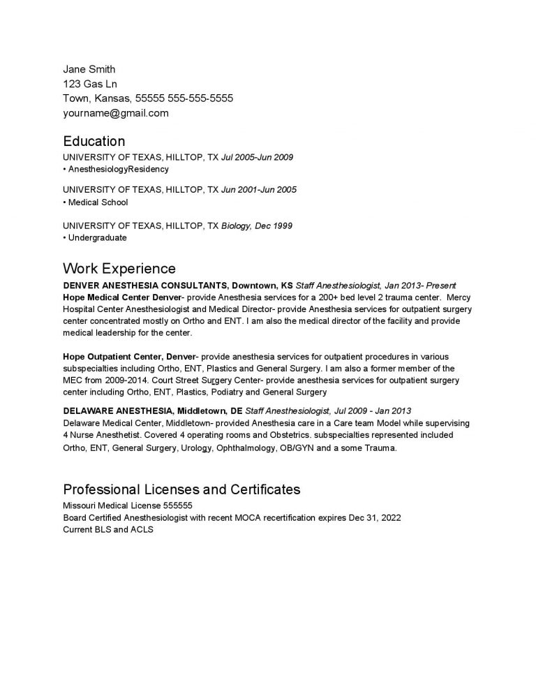 Experienced Anesthesiologist CV Template #1