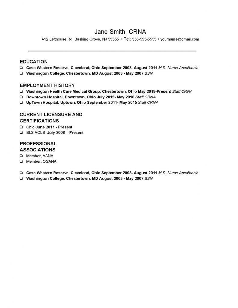 Experienced CRNA CV Template #2