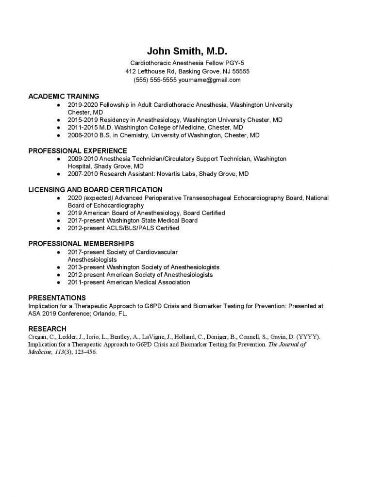 Resident_Fellow CV Template