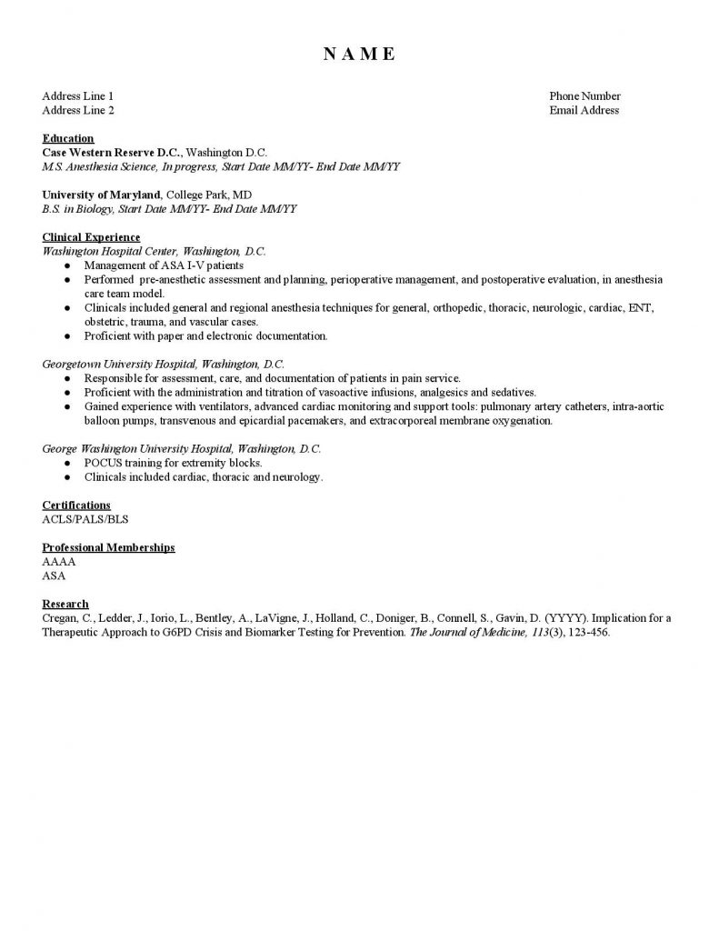 SAA CV Template #1