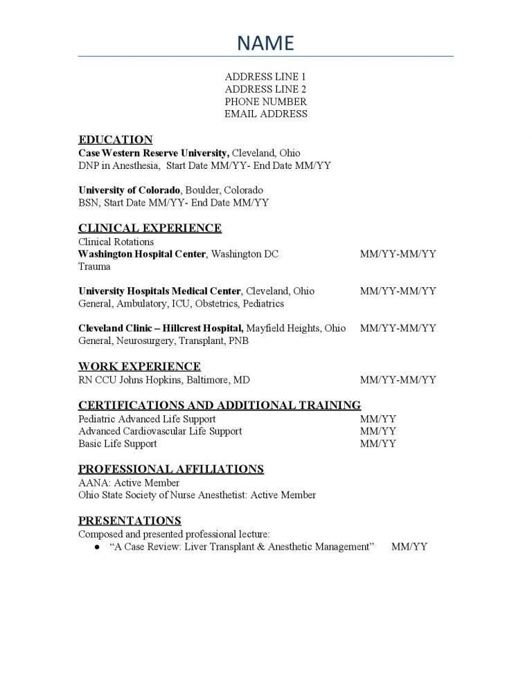 SRNA CV Template #2